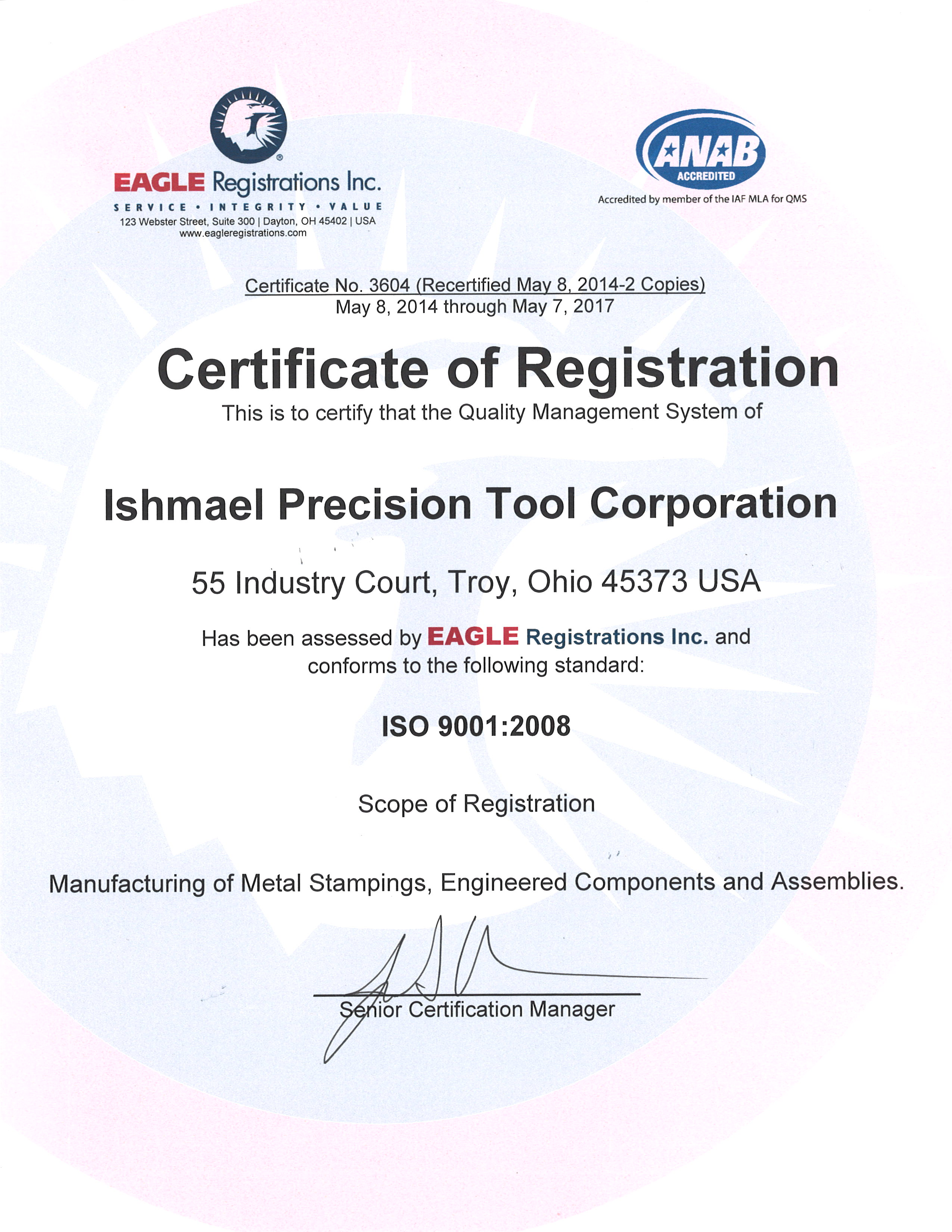 Iso 9001 Ts 16949 Quality Certifications For Ishmael Precision Tool
